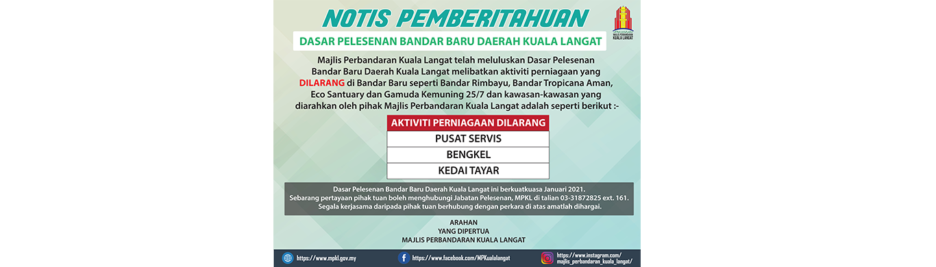 banner website notis pemberitahuan dasar pelesenan bandar baru